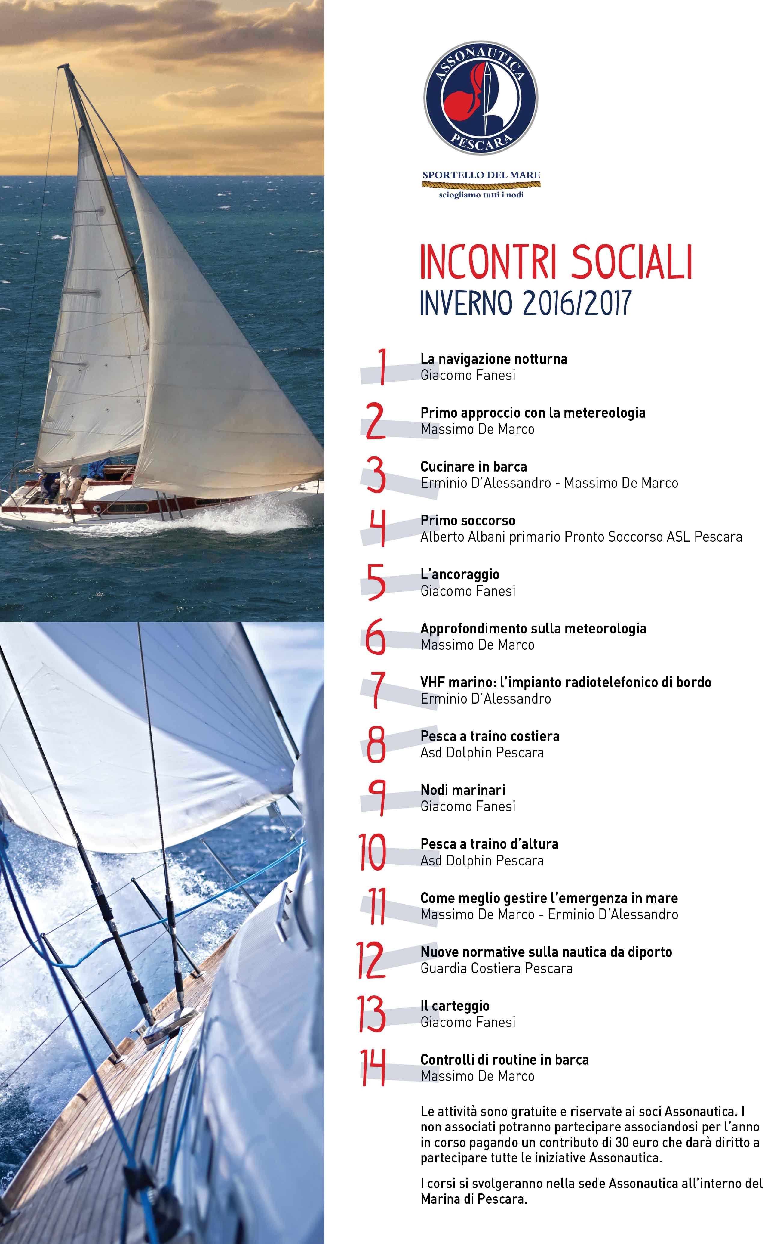 Assonautica Pescara -Sportello del mare: incontri sociali 2016/7